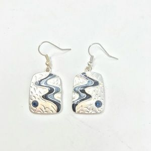 Earrings Silver Drops Enamel Black Blue Waves